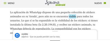 Chrome para Android estrena las nuevas definiciones contextuales: así funcionan