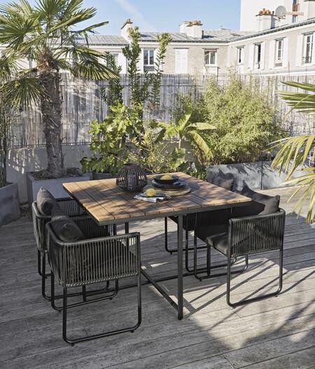 Mesa De Jardin De Composite De Imitacion A Teca Para 4 Personas L 110 Y Sillones X4 De Resina Negra 1000 7 2 209430 6