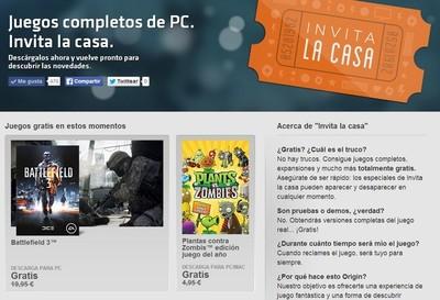Origin Invita la casa, descarga gratis juegos completos como Battlefield 3 y Plantas contra Zombis