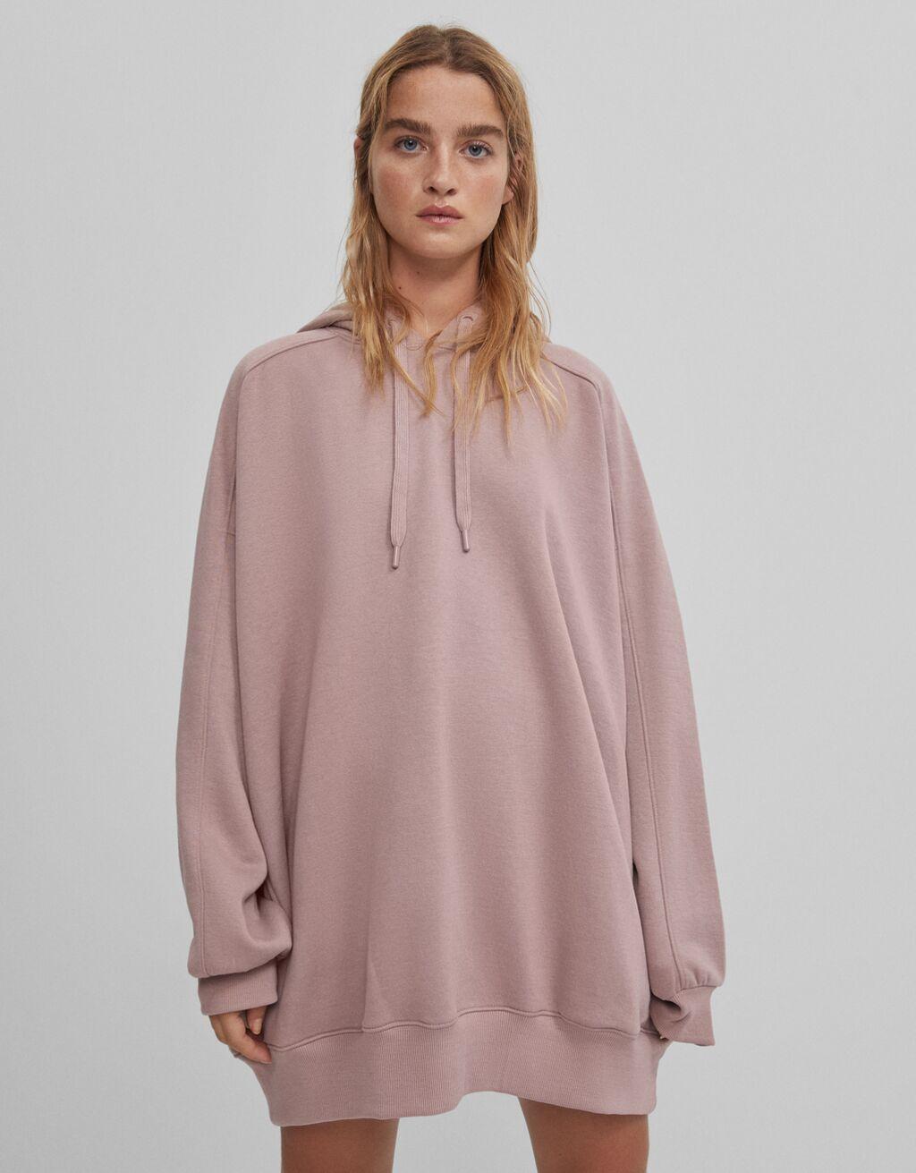 Sudadera capucha oversize rosa