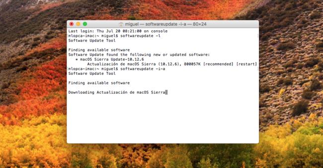 Mac Terminal Actualizacion