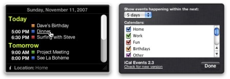 iCal Events, widget con los eventos de iCal