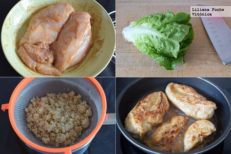 Ensalada de Pollo y Quinoa. Pasos