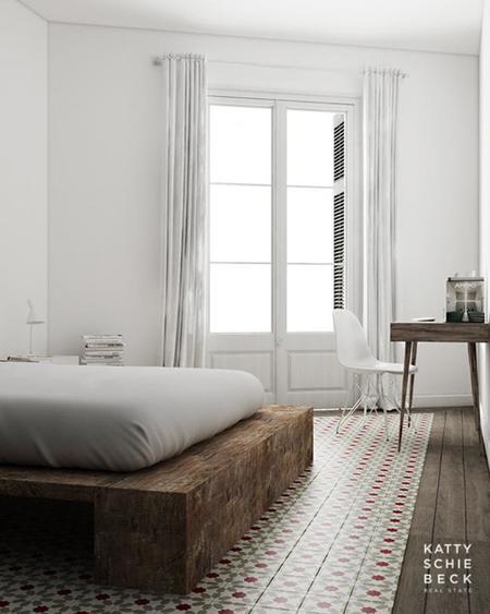 pequeño y acogedor apartamento en blanco de madera y baldosa hidráulica en Barcelona