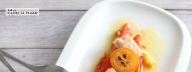 Ensalada de pimientos tricolor con ventresca de salmón y kumquat. Receta