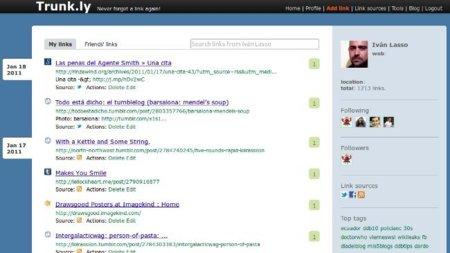 Trunk.ly: guarda todos los enlaces que compartes en Twitter y Facebook en un sólo sitio