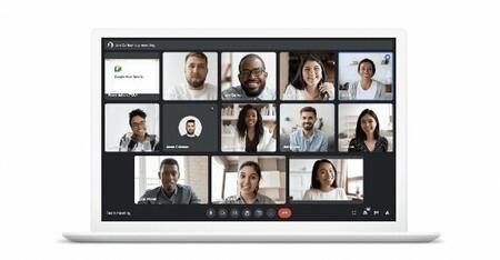 Google Meet ejecutándose en un ordenador portátil