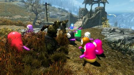 Los personajes de Fall Guys llegan a The Elder Scrolls V: Skyrim gracias a este simpático mod que sacará su lado más salvaje