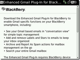 Enhanced Gmail plugin for BlackBerry, mejorando el acceso al correo
