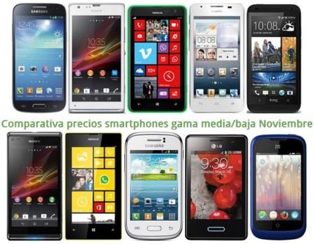Comparativa Precios Galaxy S4 mini, Xperia SP, Lumia 625, Desire 601 y otros gama media/baja en Noviembre de 2013