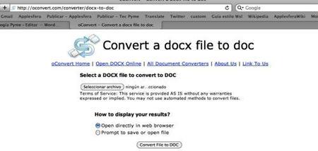 oConvert, servicio online para convertir de docx a doc, odt, txt, pdf y otros formatos