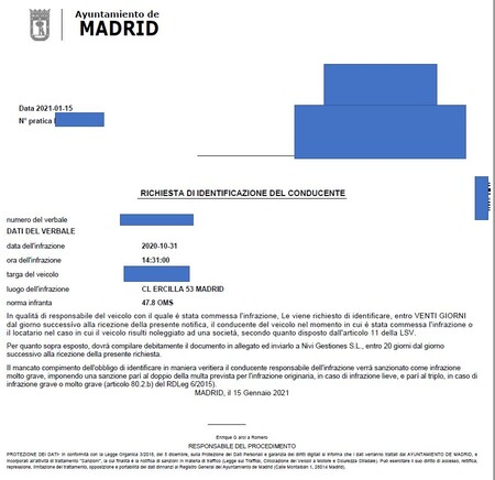 Multa Italia Ayuntamiento Madrid