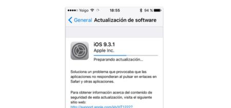 iOS 9.3.1 ya disponible, con la solución al bug de la apertura de links