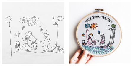 Una madre convierte los dibujos de los niños en preciosos y coloridos bordados