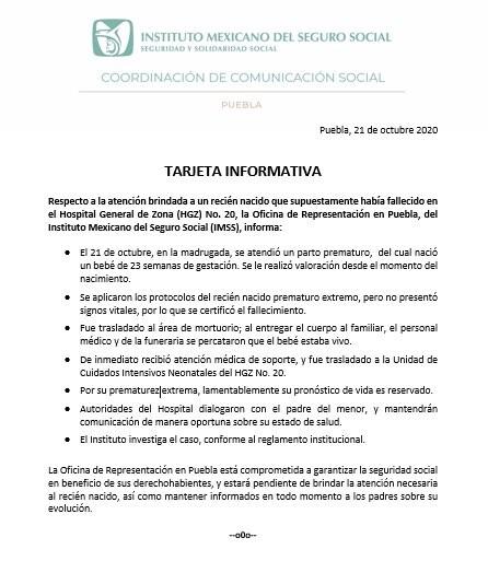 Comunicado Imss Puebla