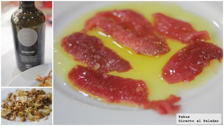 alcachofas aceite y migas de atún