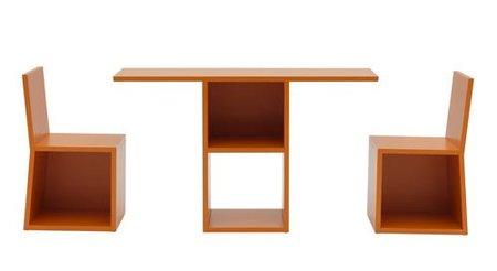 Estantería, mesa y sillas todo en uno, desplegado