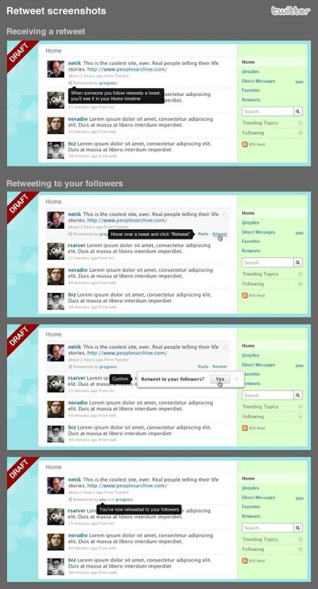 Mockups del nuevo sistema de Retweets