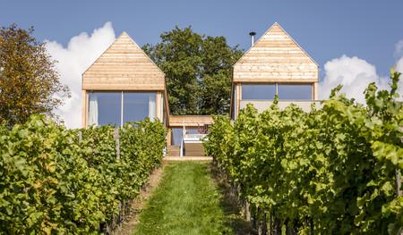Simetría perfecta en una pequeña casita sobre unos viñedos en Austria