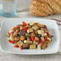 Salteado de tofu y berenjena. Receta saludable