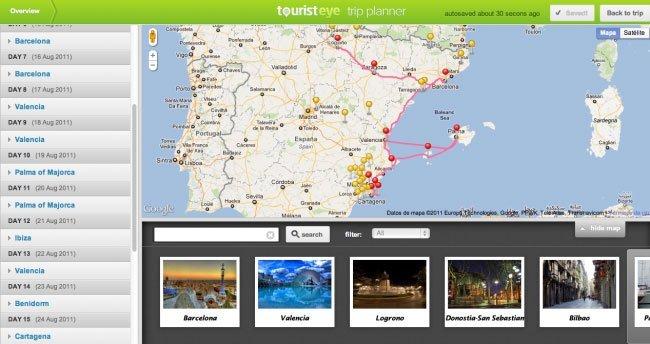 Tourist Eye, planificador de viajes online