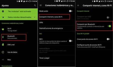 Compartir Internet Bluetooth