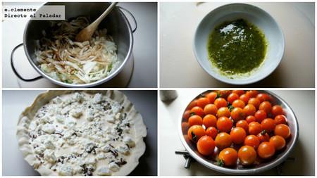 Tarta de tomates gratinados, feta y pesto