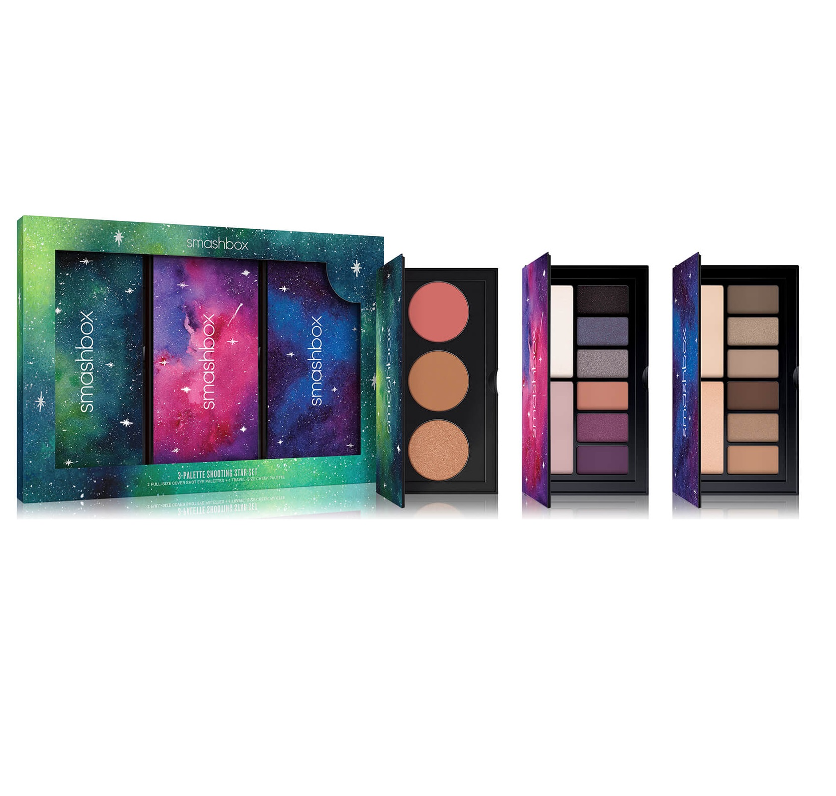 Set de tres paletas de colores para ojos y rostro de Smashbox