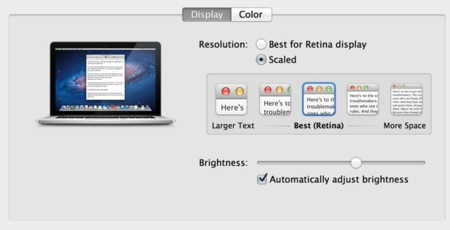 Macbook Pro Retina configuración de la pantalla