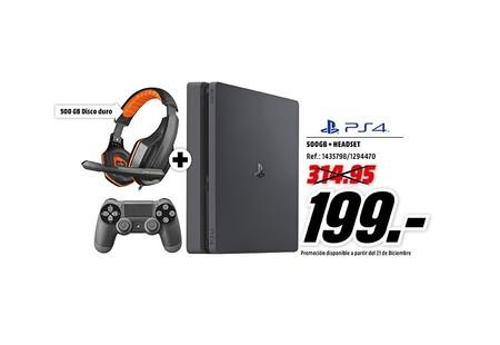 PlayStation 4 de 500GB, con auriculares gaming Ardistel de regalo, por 199 euros en MediaMarkt