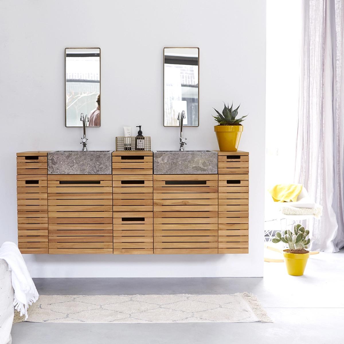 Mueble de baño en teca maciza con lavabo de mármol 150 Slats
