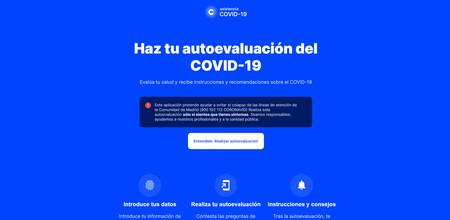 Así es Coronamadrid.com, la web oficial de la Sanidad madrileña que te ayuda a saber si tienes coronavirus