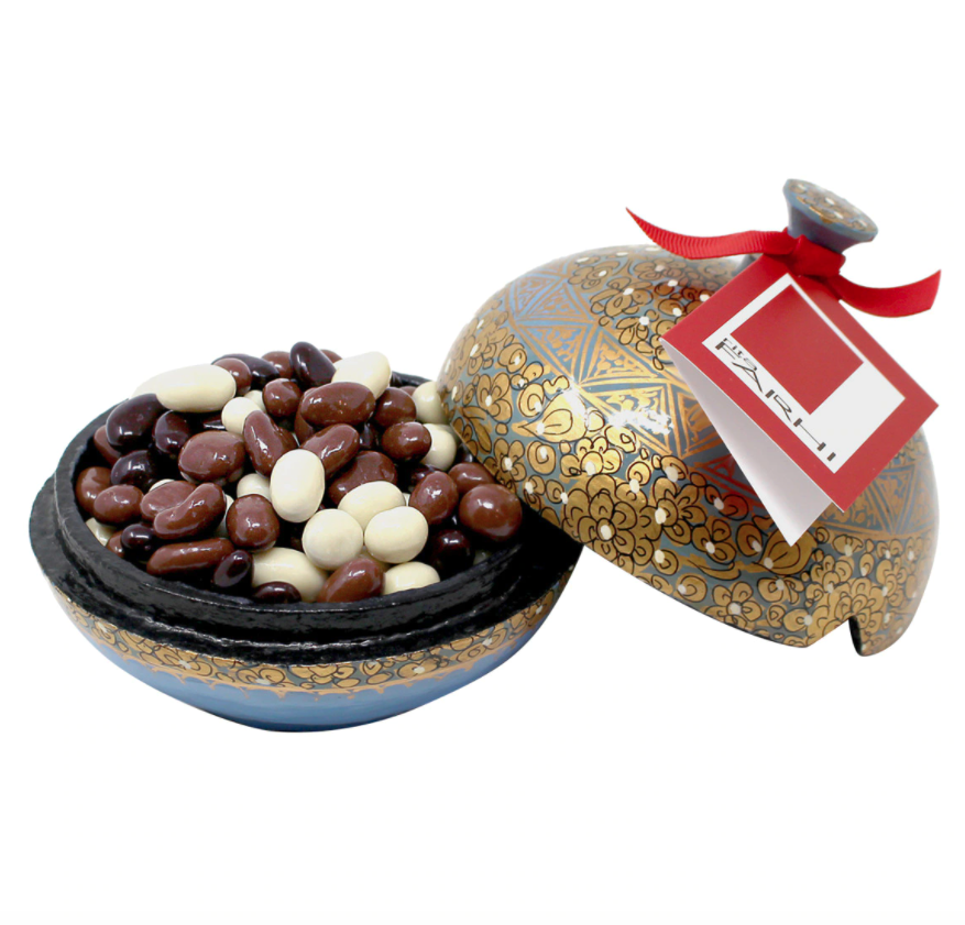 Bombonera con perlas de pasas cubiertas de chocolate Farhi