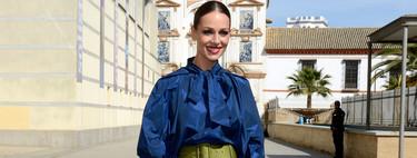 Eva González luce el perfecto look de invitada de boda con pantalón