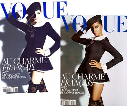 Doble portada de Vogue París Junio/Julio 2008, ¿Noémie Lenoir o Laetitia Casta?