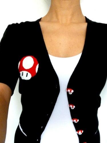 Chaqueta con setas de Super Mario Bros, todo artesanal