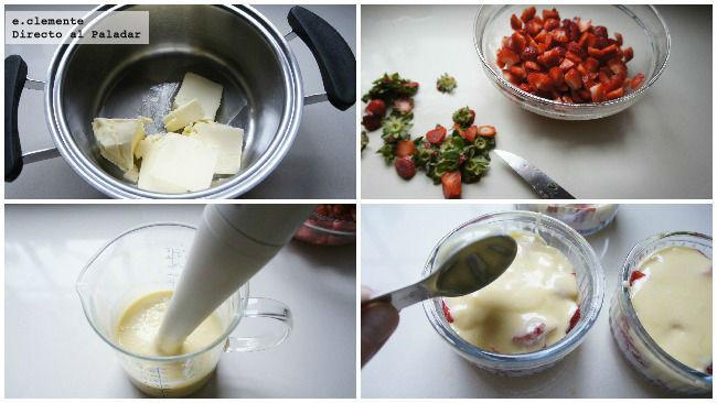 Pastel de fresas en vasito