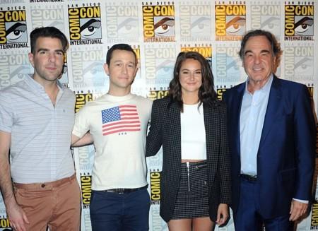 Zachary Quinto, Joseph Gordon-Levitt, Shailene Woodley y Oliver Stone