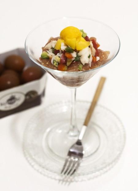 Receta de esqueixada de bacalao, gelatina de tomate Mini-Kumato® y mango