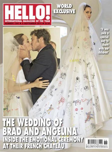 ¡Angelina Jolie se ha casado con un vestido Atelier Versace pintado por sus hijos!