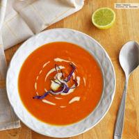 Sopa de camote, jengibre y naranja. Receta