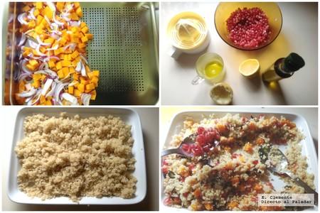 paso a paso ensalada quinoa calabaza granada