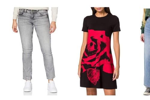 Chollos en tallas sueltas de vestidos, camisetas, pantalones o sudaderas de marcas como Desigual, Pepe Jeans o Wrangler en Amazon