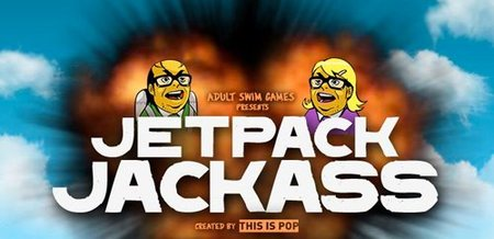 'Jetpack Jackass', un hombre atado a un cohete, explosiones y música ochentera. Juego gratuito