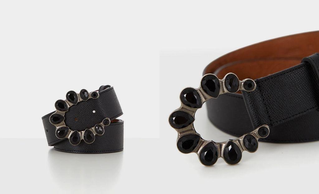 Cinturón de mujer piel saffiano negro con hebilla de piedras