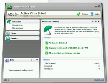 Active Virus Shield, Kaspersky gratuito de parte de AOL