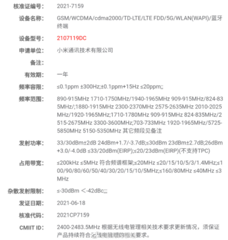 Xiaomi Mi Cc 11