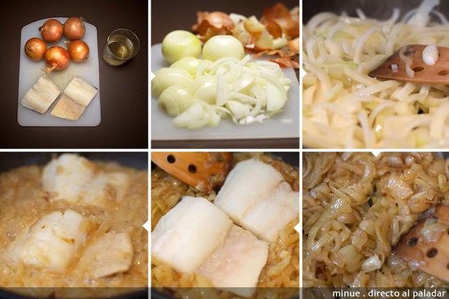 Bacalao con cebolla caramelizada - elaboración