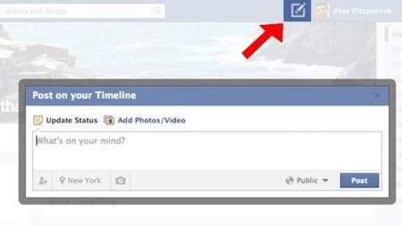 Facebook prueba un botón para publicar desde cualquier parte de su red. Sí, como Twitter