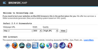 Browsrcamp, visualizando nuestra web en navegadores disponibles en Mac